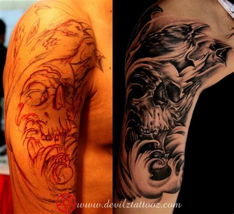 raven and skull tattoo tattoo collections