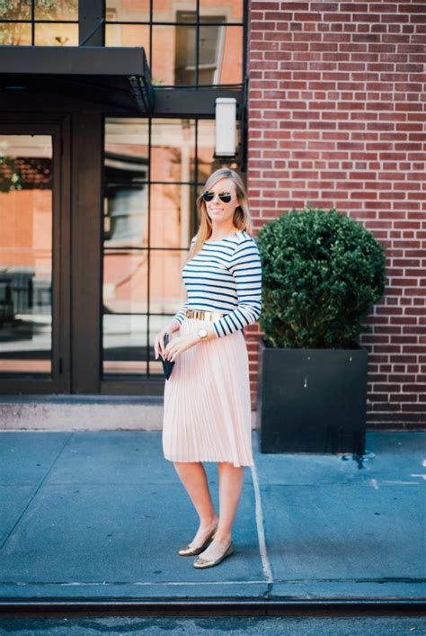 style sessions blush midi skirt and stripes
