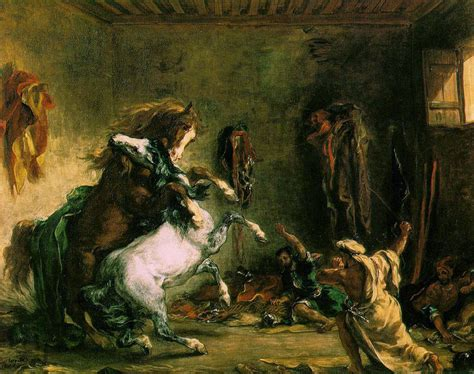 Chevaux arabes se battant à l'écurie   Delacroix