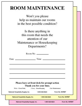 maintenance request card template 3 part maintenance request form 5 5 x 4 25 250 pk hotel