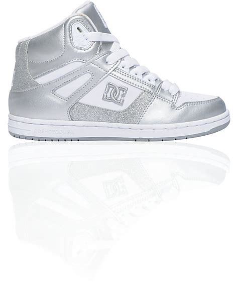 dc rebound hi white metallic silver sparkle shoes