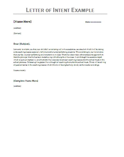 Letter Of Intent Exles Letter Of Intent Exle Make Up And Such Pinterest Letter Of Intent Production Template