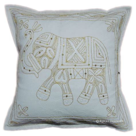 Decorative Elephant Pillows by Handicraft Elephant Golden Thread Embroidered