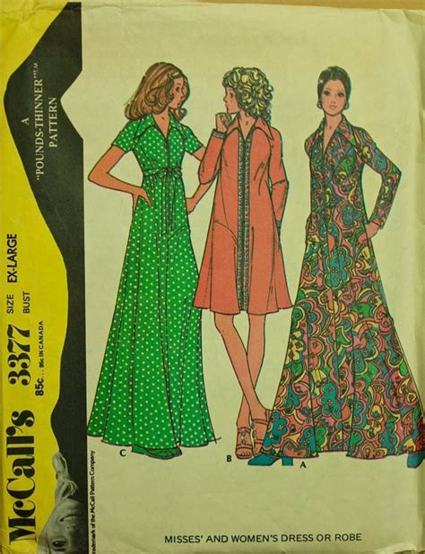 dress pattern finder 1970s maxi dress or robe mccall s pattern 3377 size xl