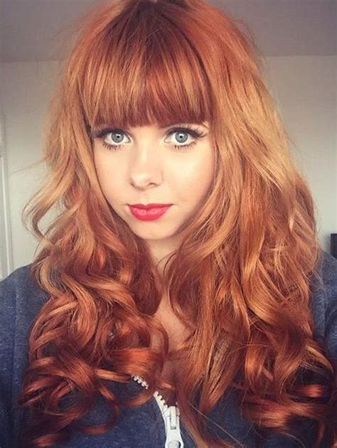 hairstyles with light bangs 50 glamorous auburn hair color ideas