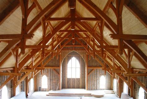 a frame roof design timber frame church with hammer beam trusses