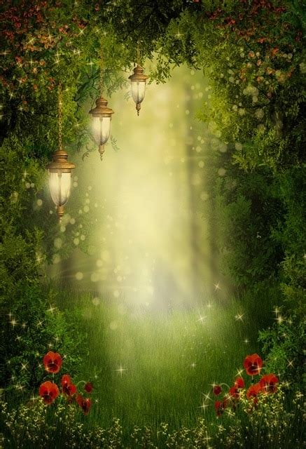 laeacco fairytale forest lamps flowers pathway photography backgrounds vinyl custom photographic