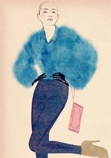 fashion illustration blue fur jacket chic fashion drawing suy fashion