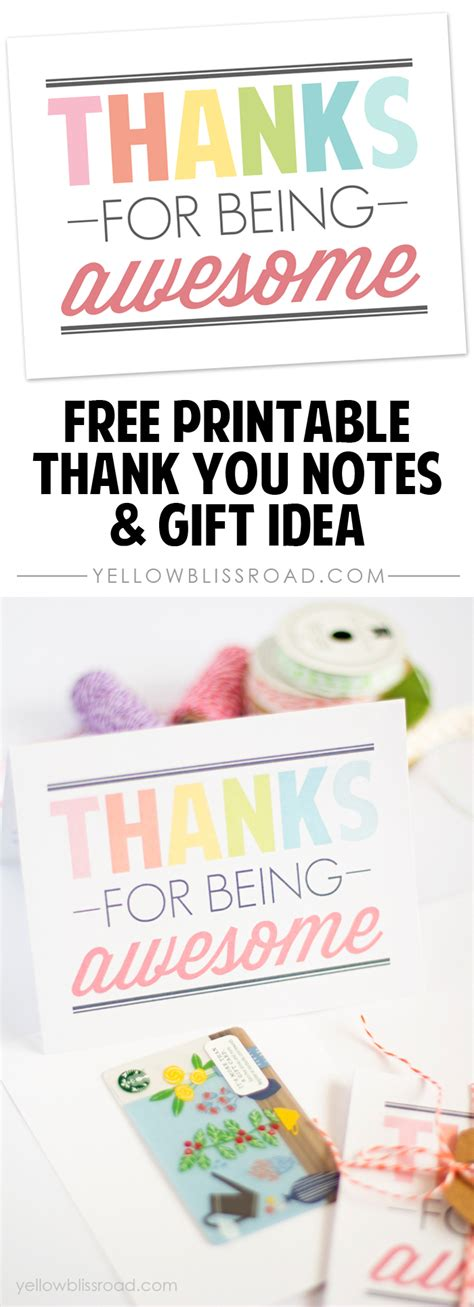Awesome Gift Cards - free printable thank you notes yellow bliss road