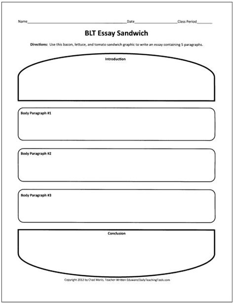 blt essay sandwich graphic organizer teach writing