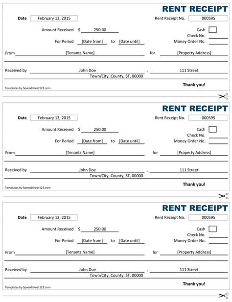receipt rent template rent receipt free rent receipt template for excel