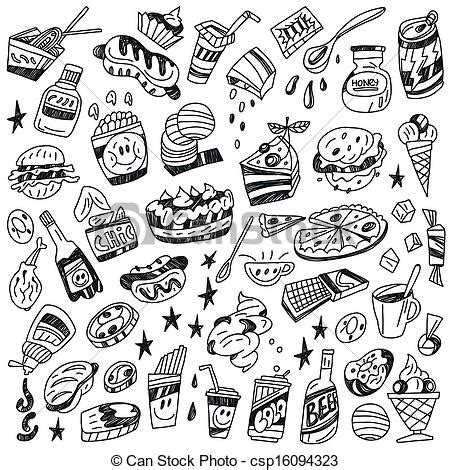doodle food icons vector fast food doodles fast food vector icons in sketch