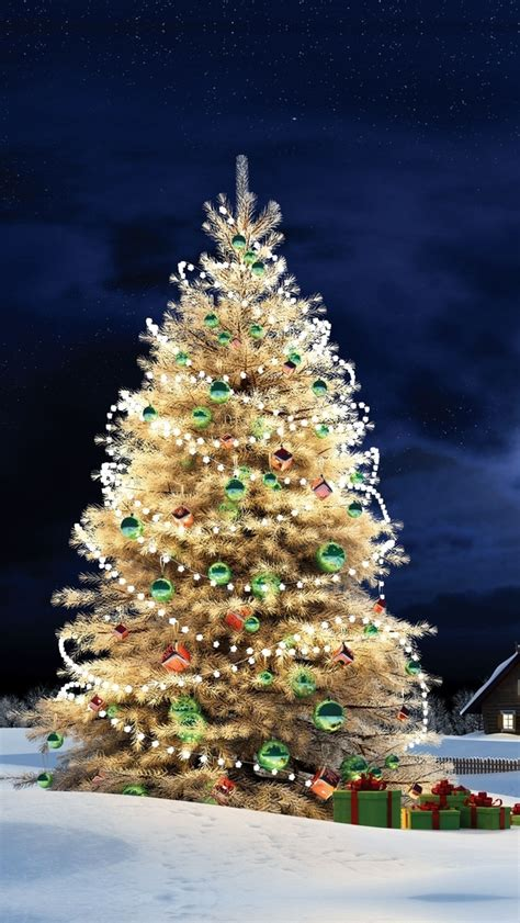 frosted christmas tree iphone 5 wallpaper 640x1136