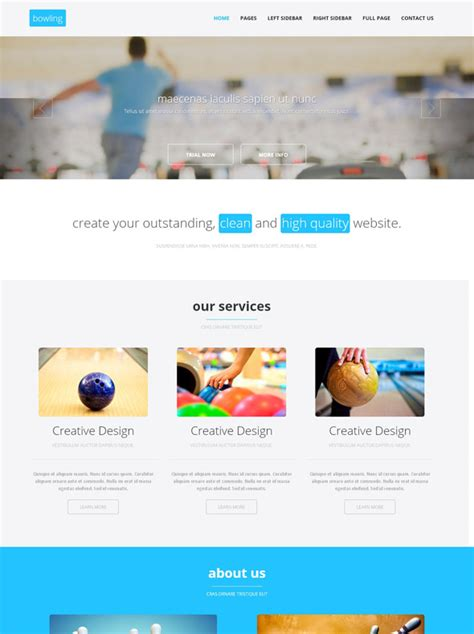 Bowling Competition Html Template Bowling Sports Dreamtemplate Competition Website Template
