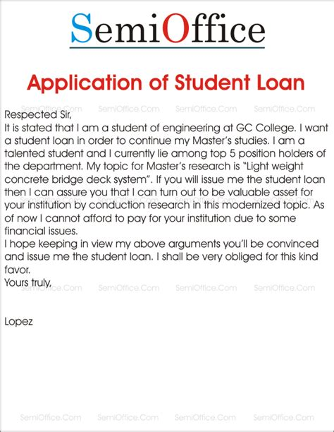 Education Loan Application Letter College loan archives page 2 of 2 semioffice