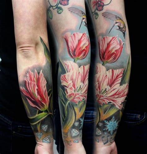 tatuaggi fiori realistici arm realistic flower by puedmag custom ink tattoos