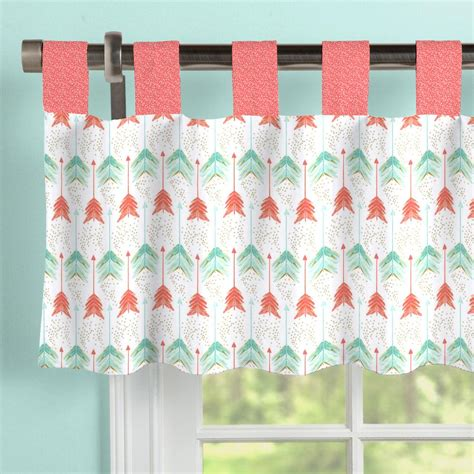 Salmon Colored Curtains Designs Coral And Teal Arrow Window Valance Tab Top Carousel Designs