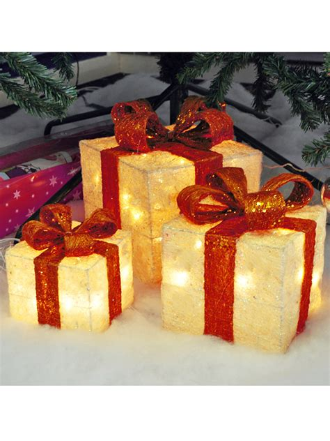 set of 3 lit gift boxes light up gift boxes presents set of 3 glitter led indoor decoration ebay