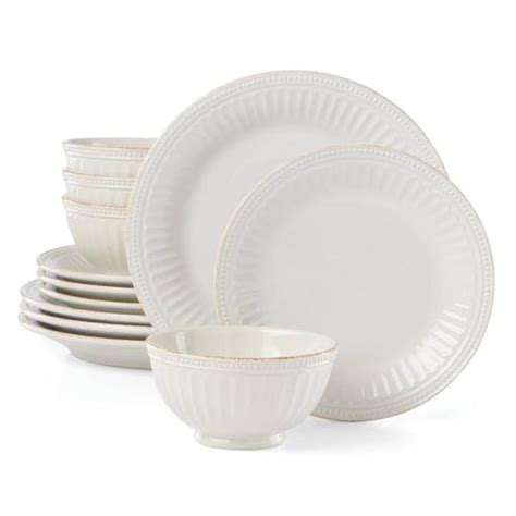 lenox french perle groove  piece white dinnerware set