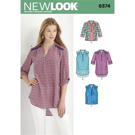 pattern ladies shirt misses shirts with sleeve and length options simplicity