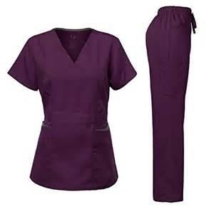 eggplant colored scrubs s scrubs set stretch contrast pocket