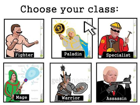 Class Memes - ms paint version choose your class know your meme