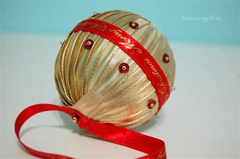 handmade ribbon wrapped christmas ornament ball diy