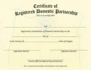 certificate of partnership template oregon state domestic partnership multnomah county