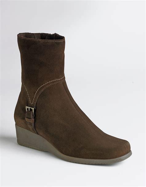 wedge brown boots la canadienne laverna suede wedge boots in brown brown