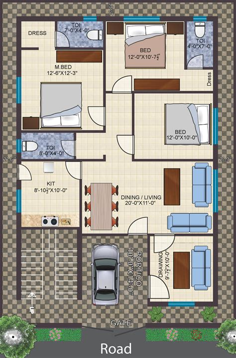 3 roomed house plan 3 bhk floor plans independent house