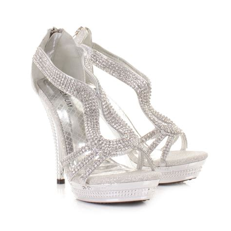 silver shoes womens strappy silver diamante glam high heel