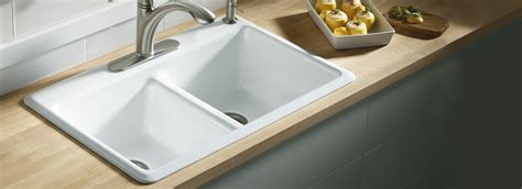 self kitchen sinks kohler 174 cast iron primary kitchen sinks self anthem