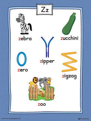 list of colors a z letter z word list with illustrations printable poster