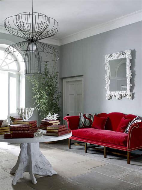 adorable red sofas creating  modern impression  living room