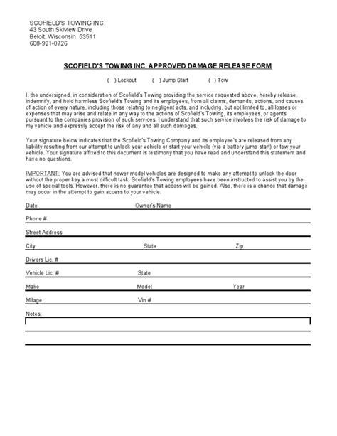 damage waiver template damage release form