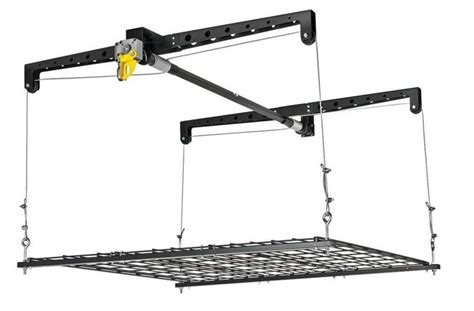 Garage Storage Hoist Platform Heavy Duty Garage Ceiling Cable Lift Storage Rack Platform
