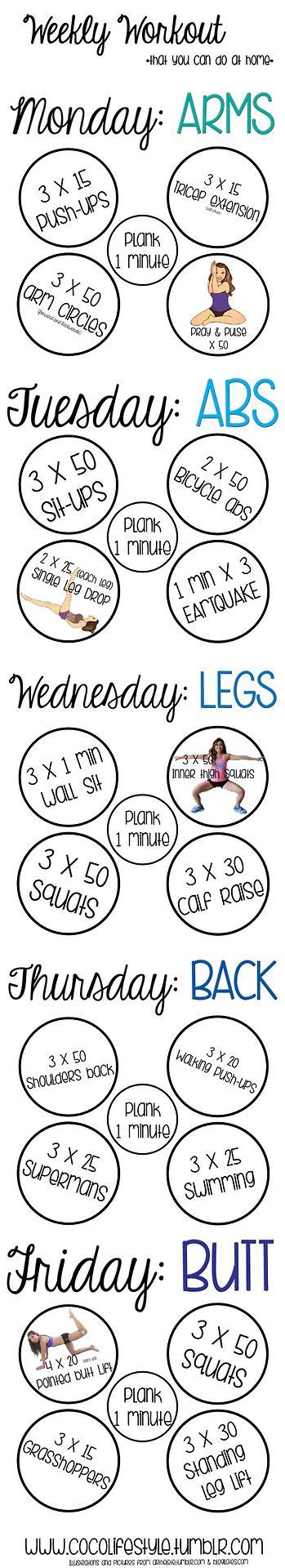 at home work out plan weekly workout you can do at home fitness pinterest