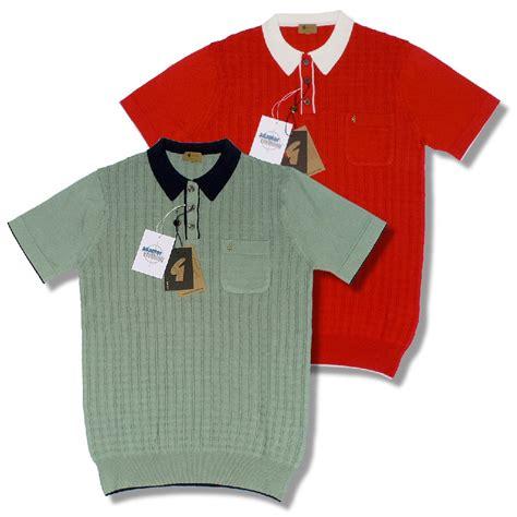 gabicci vintage mod retro 60 s s s square knit polo shirt