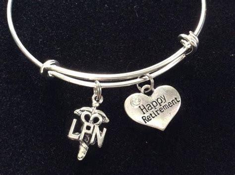 Happy Retirement LPN Bracelet Adjustable Expandable Silver Wire Bangle   Jules Obsession