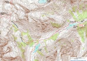 topographic map of the crater lake trail maroon bells