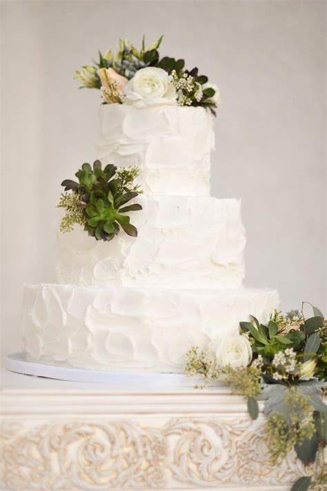 Wedding Cake With Succulents by Real Weddings Kerali
