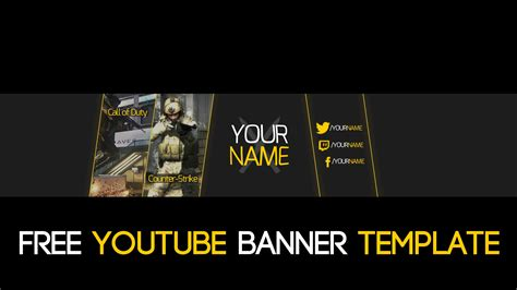 Free Gaming Simple 2d Youtube Banner Psd Template 2015 Free Gaming Banner Template