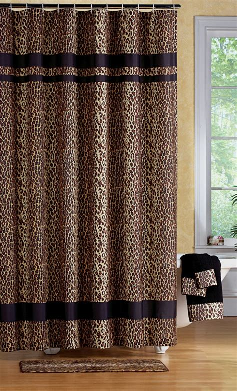 print shower curtain leopard print bathroom set shower curtain rugs towels