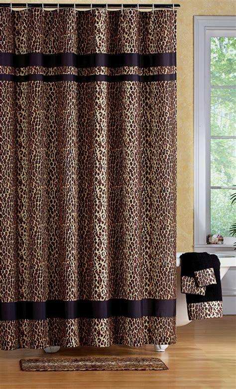 Leopard print bathroom set shower curtain rugs towels mat animal jungle