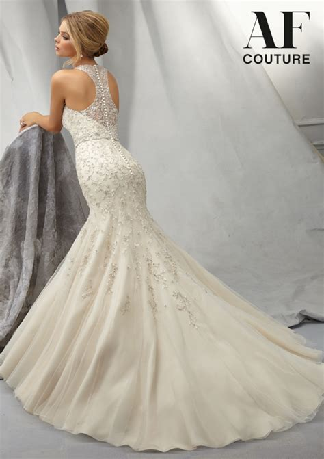 embroidered allover design intricately beaded morilee bridal wedding dress with