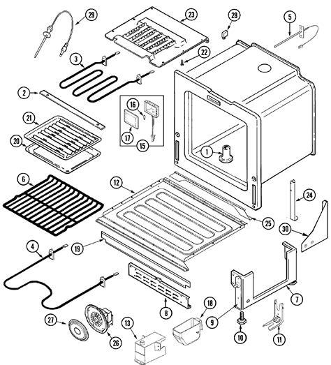 jenn air oven parts diagram jenn air jds9860aab slide in dual fuel downdraft range