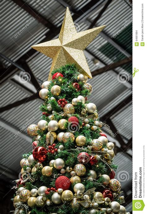 tree balls artificial tree with and gold balls and