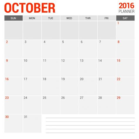 Calendario 2016 Octubre Calendario Mensual De Octubre 2016 Descargar Vectores Gratis