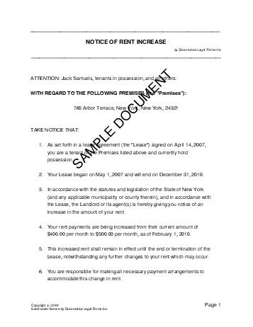 Notice Of Rent Increase Usa Legal Templates Agreements Contracts And Forms Rent Increase Agreement Template