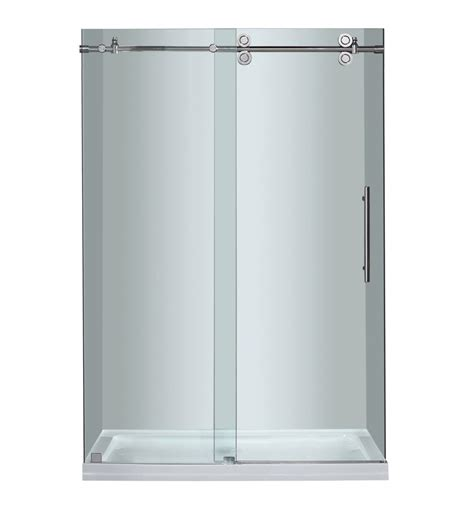 48 Sliding Shower Door Aston 48 Inch X 77 5 Inch Frameless Sliding Shower Door In Chrome With Center Base The Home